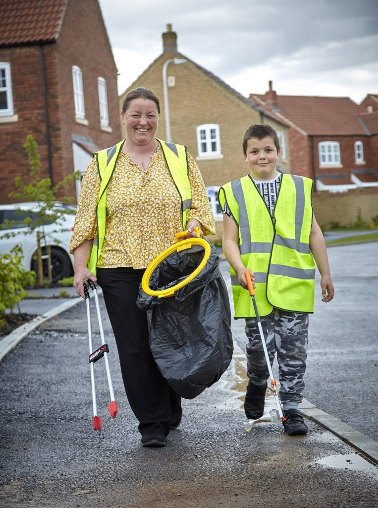 Tracy and son Thomas out on litter-picking patrol