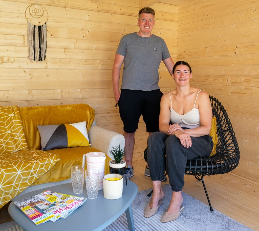 Michelle and Ashley Thorpe pictured in the Haxby's summer house