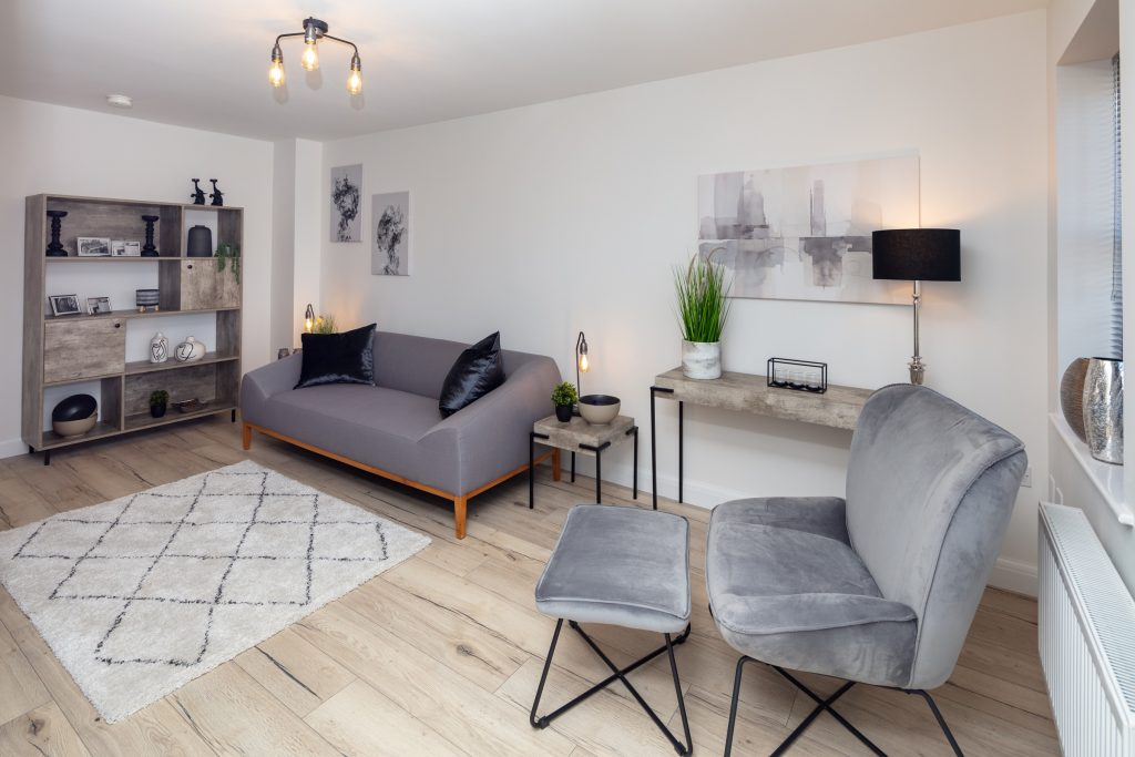 The grey and wood Chelsea living room